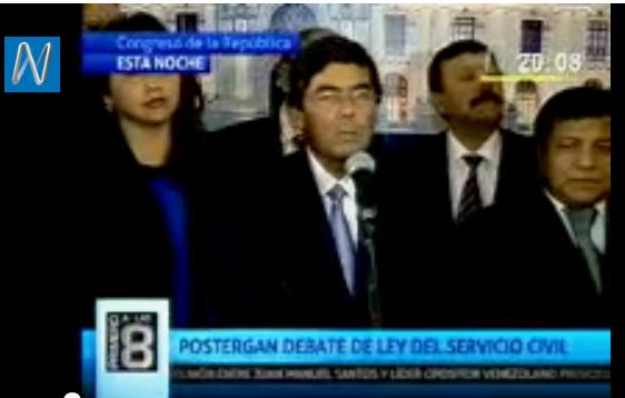 VIDEO CANAL N Bancada nacionalista informó que se suspendió el debate de la Ley del Servicio Civil,