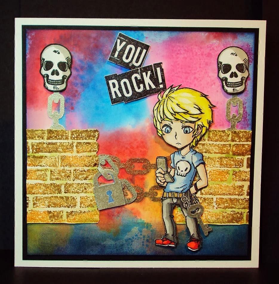 Teenage character stamp brickk wall skulls chain you rock