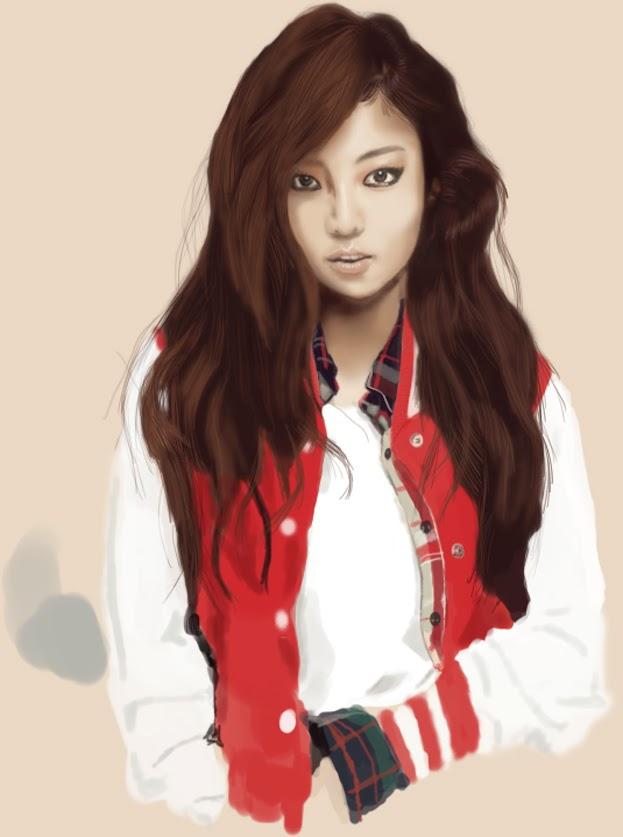 goo hara drawing, goo hara digital painting, illustration, art, kpop art