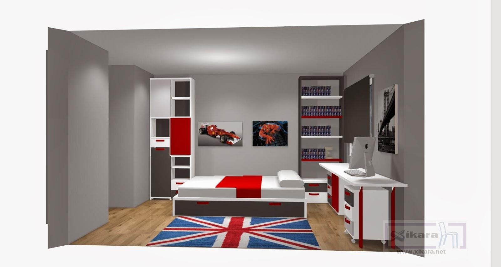 Dormitorios juveniles grises for Dormitorio gris y rojo