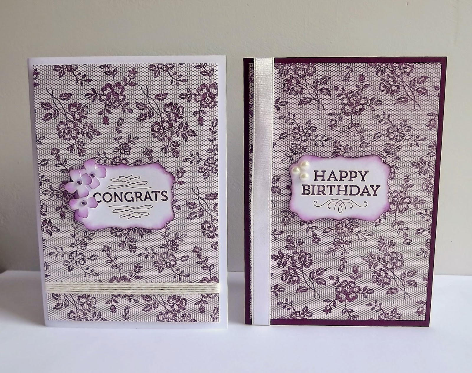 Stampin Up! I love lace, blackberry bliss cards