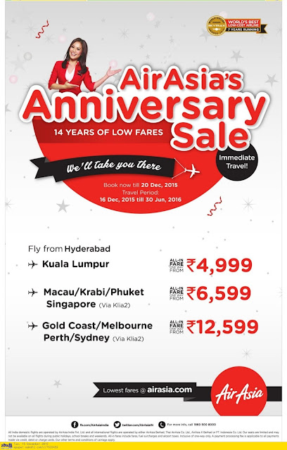 Air Asia Anniversary sale | Lowest fares offers ever 2015