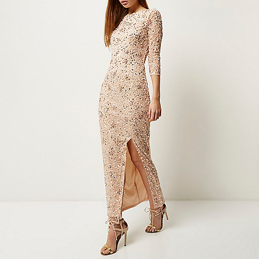 pale pink sequin maxi dress, river island full length sequin dress,