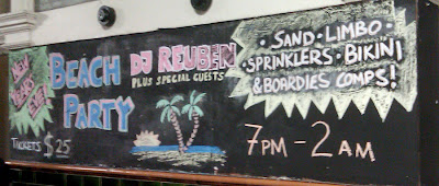 Chalkboard art: NYE/NYD Beach Party