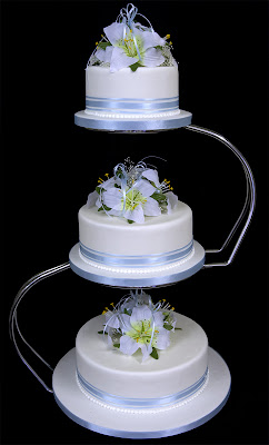 White Three wedding cakes