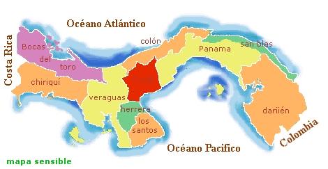 mapa de panamá division politica