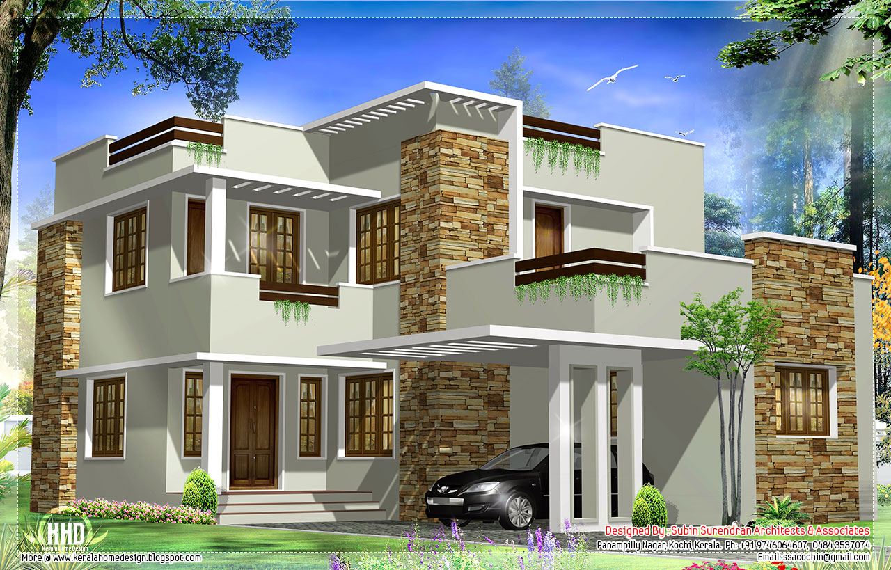 Feet modern house elevation kerala home design and floor plans