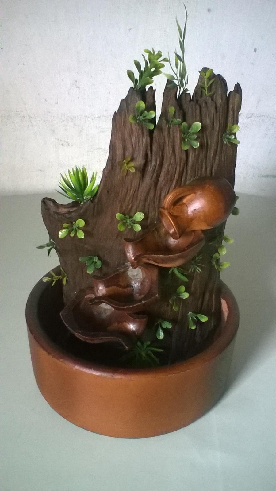 Ref : 203174 - Mini cascata em madeira natural com vasinhos