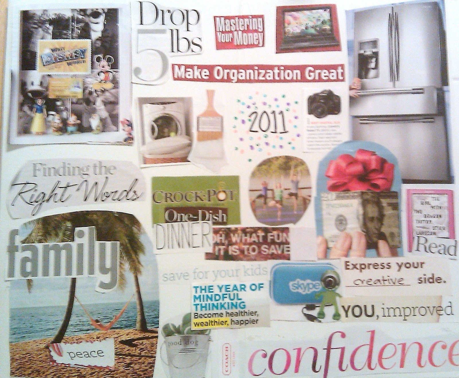 if you have already identified your goals you can grab some old magazines scissors and glue and start collaging