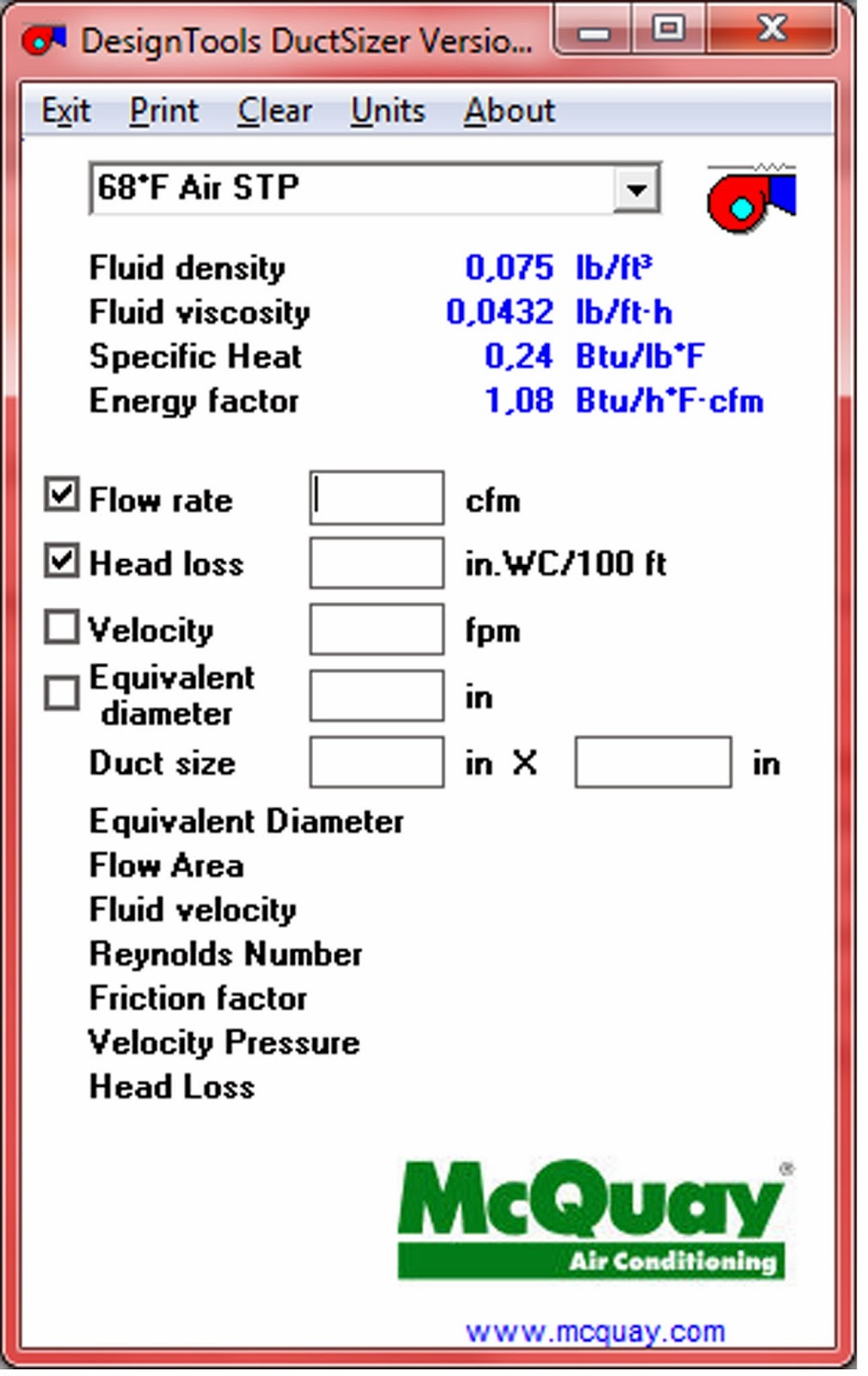 mcquay duct sizer software