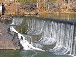 The spillway at Fredricktown lake.