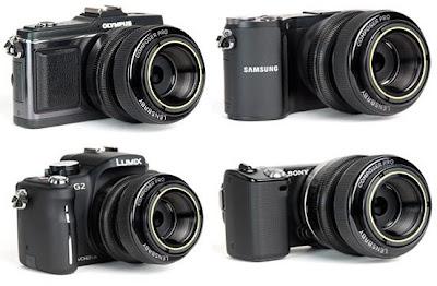 Fotografia del Lensbaby Composer Pro montato su alcune fotocamere mirrorless