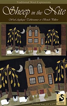 "Sheep in the Nite Wool Applique Wallhanging/Runner 13"" x 17"""