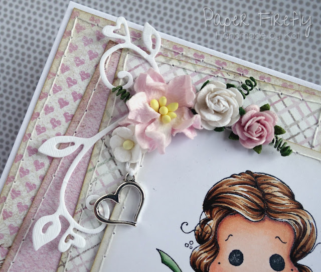 Pink romantic card featuring Tilda with large rose