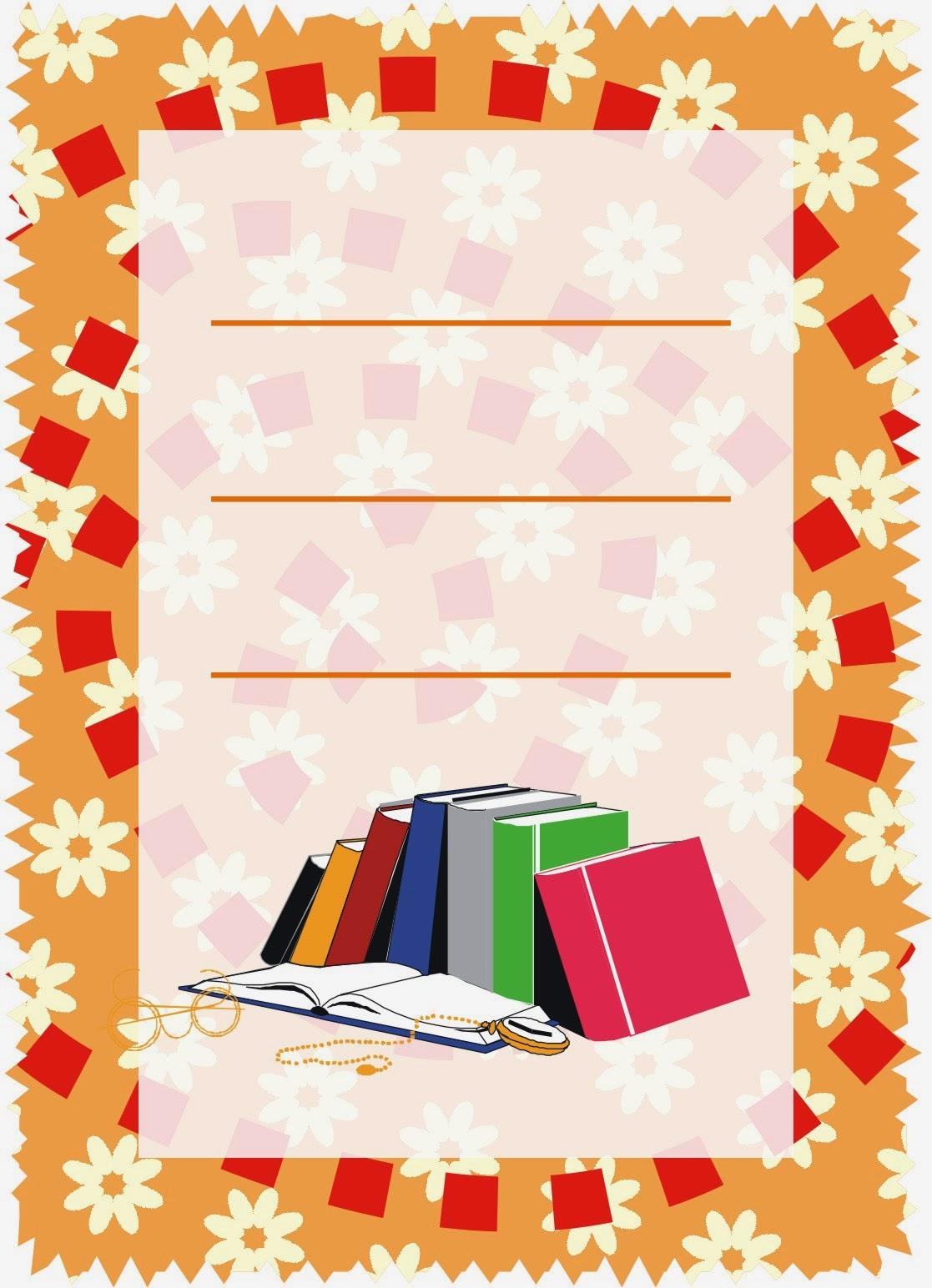Caratulas para cuadernos libros apilados multiusos para - Decoraciones gramar ...