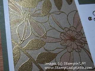 Card made with Stampin'UP! sets: Secret Garden and Feel Goods with markers colored on Brushed metallic paper.