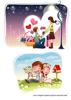 Dibujos de enamorados para imprimir