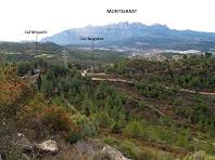 Vistes de Cal Miqueló i Can Noguera amb Montserrat al fons