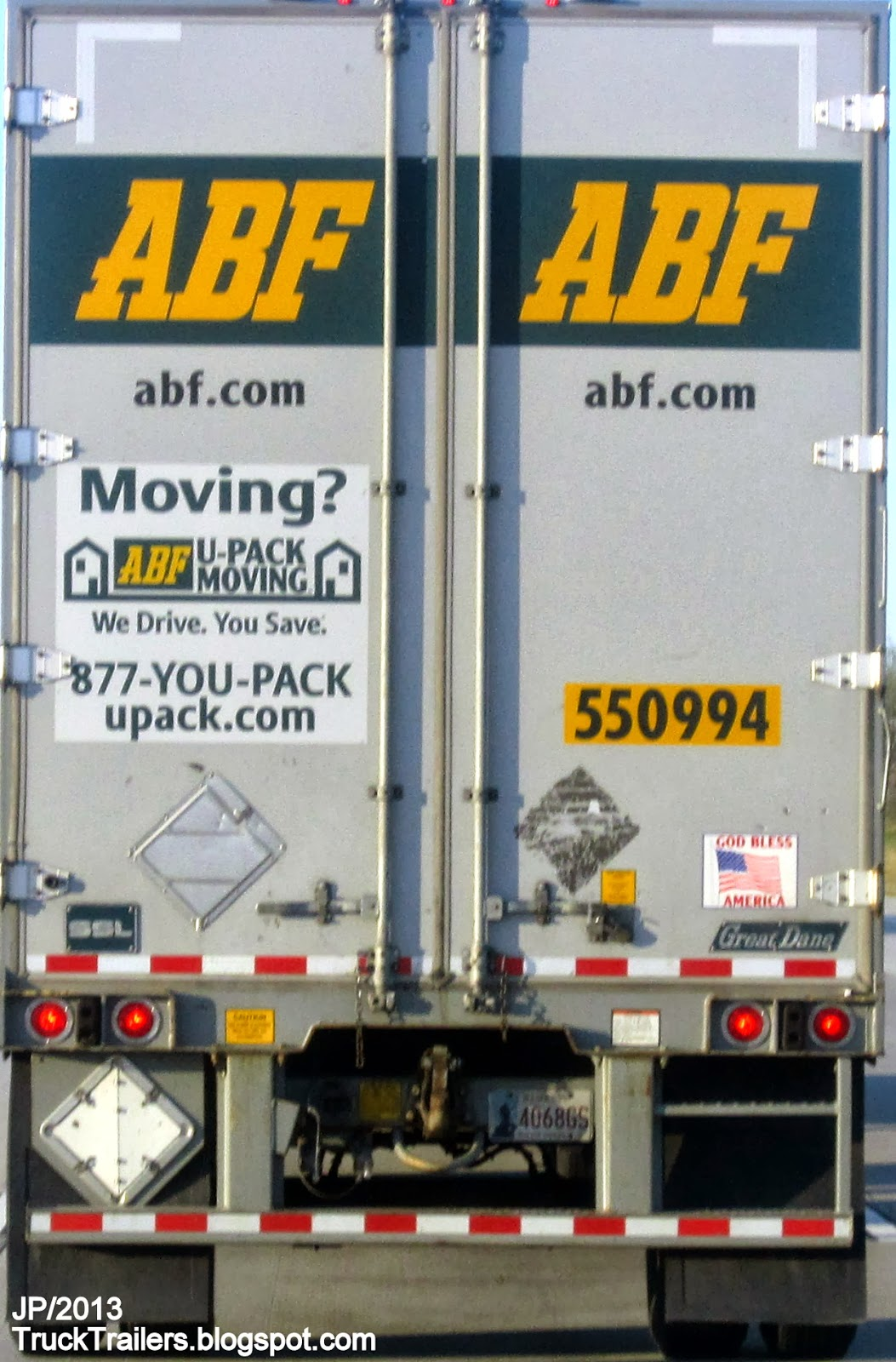 ABF Freight System Inc. Sterling Day Cab Truck Single Axle, Great Dane 48' Dry Van Trailer, ABF Freight Delivery Trucking Company Fort Smith Arkansas