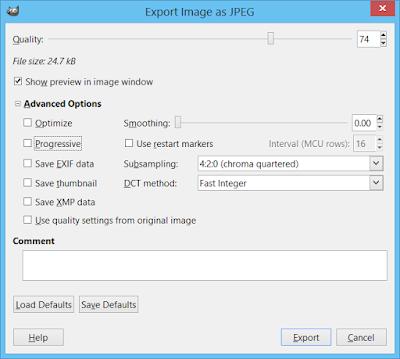 GIMP JPEG export dialog