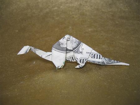 Dollar Bill Origami, Origami Art, Origami Apatosaurus