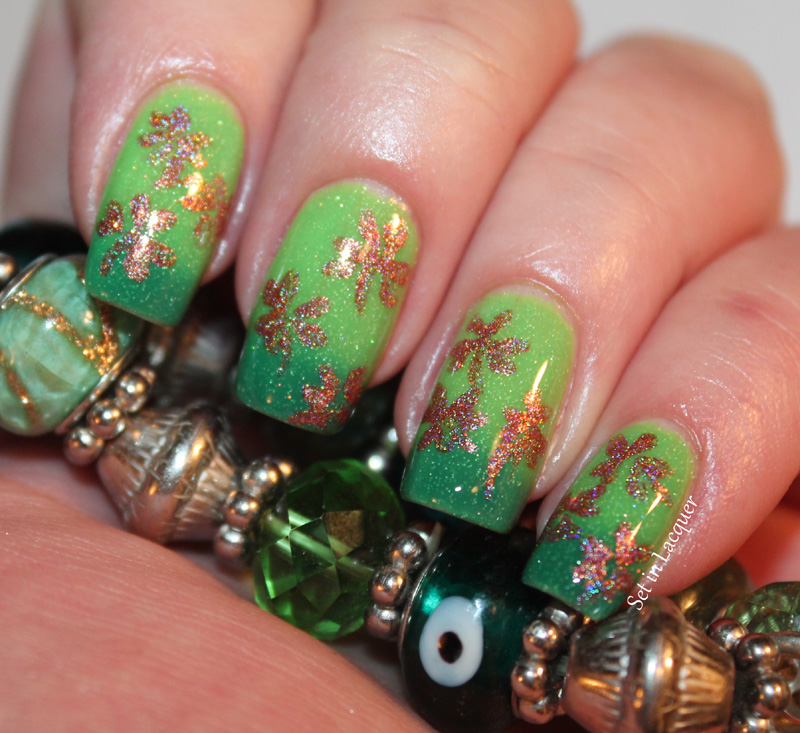 St. Patrick\'s Day Shamrock nail art - Set in Lacquer