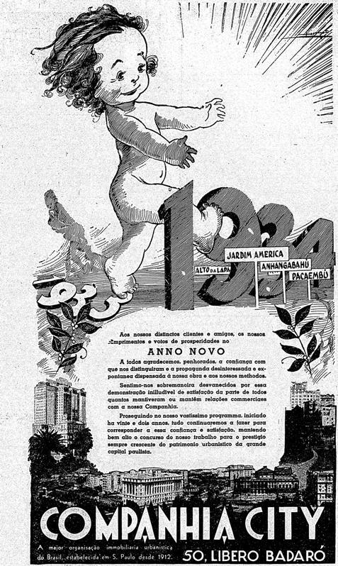 Campanha da imobiliária Companhia City veiculado em 1933 saudando o ano 1934 que estava por nascer.