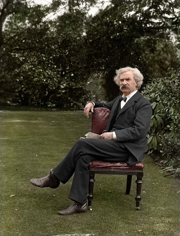 Mark Twain in his garden c.1900. (Colorized).