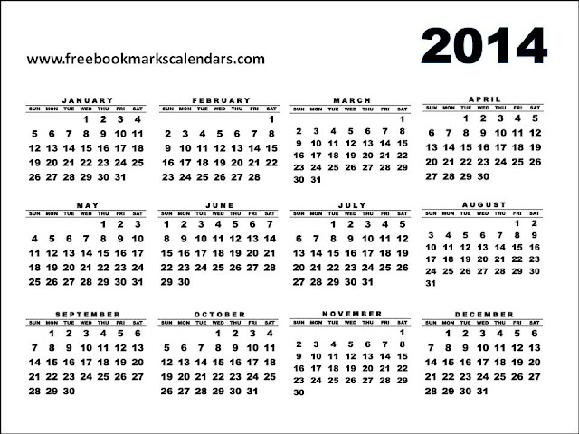 2014 Yearly Calendar Large Printable