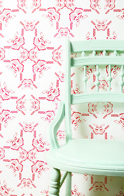 red and white wall paper mint chair