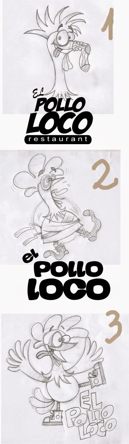 Boceto mascota pollo loco