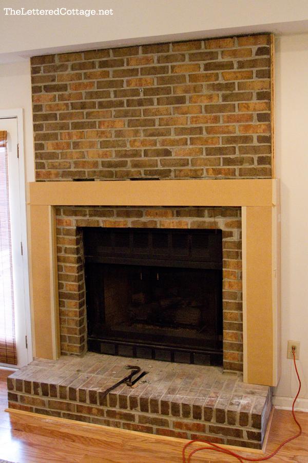 Brick laminate picture brick fireplace makeover - Brick wall fireplace makeover ...
