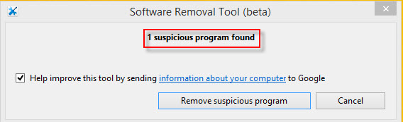 Software removal tool results