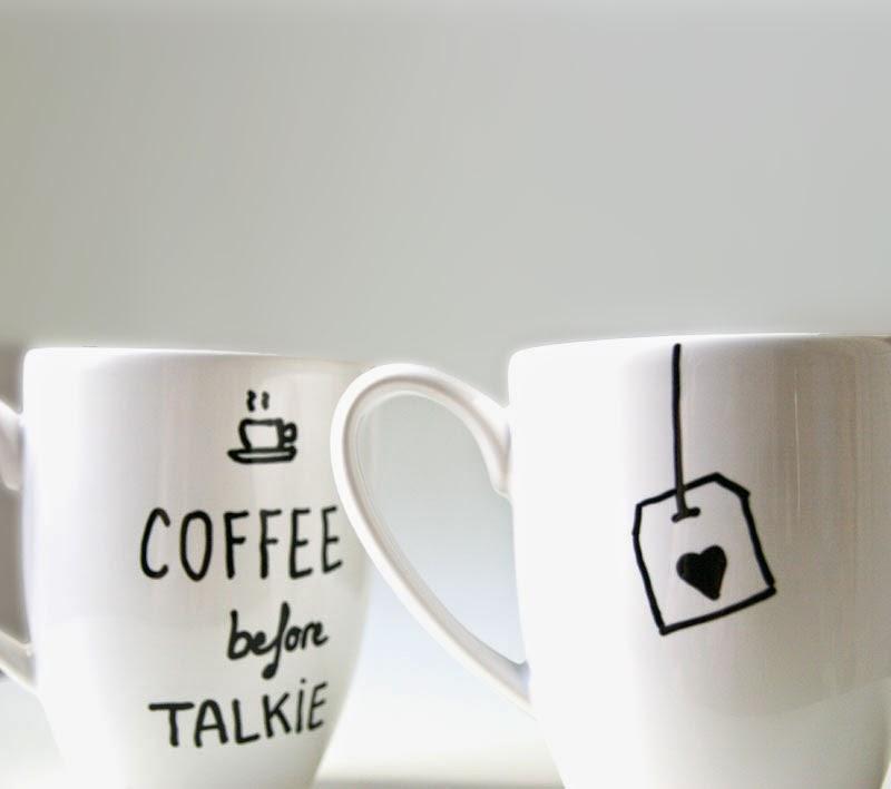 Diy c mo pintar cer mica personaliza un juego de caf o - Tazas de te originales ...
