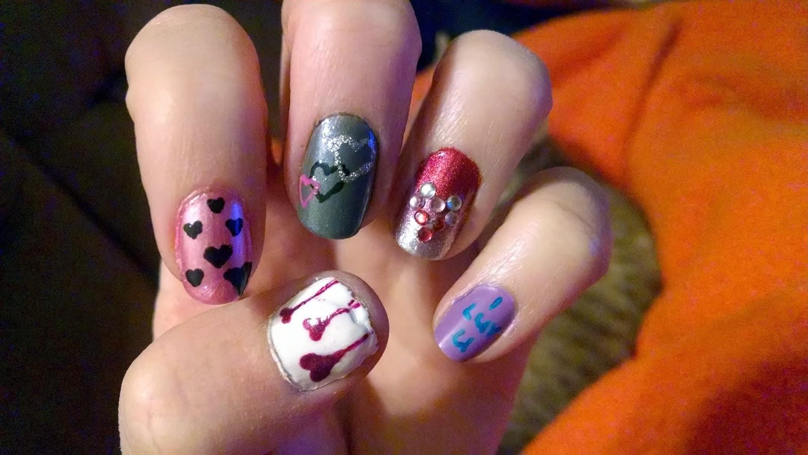 The Nail Diaries: Valentine's 2013 Medley Nail Design