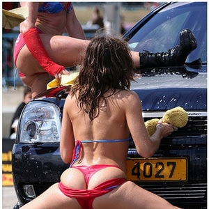 Faces amai bikini girls washing minivans