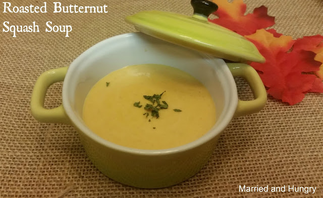 EASY soup recipe. Roast butternut squash simmer with seasonings and chicken stock. Blend, add cream and you're ready to go. #fall #soup #recipe