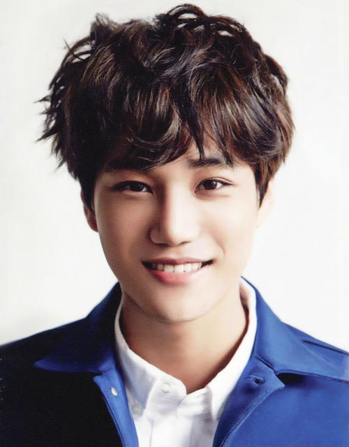 cute EXO Kai with wavy curly hairstyle