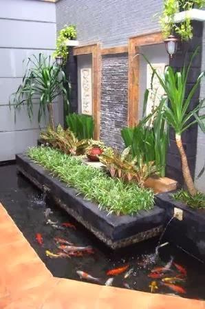 membuat taman kolam mungil di rumah minimalis desain