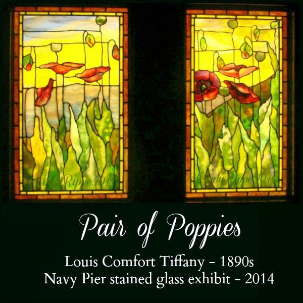 Pair of Poppies by Louis Comfort Tiffany on display at Navy Pier Chicago - Photo ©CindyRippe2014