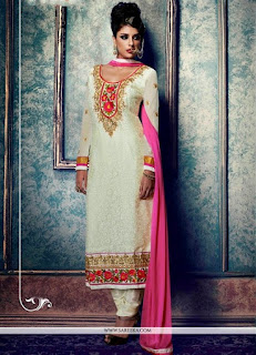 Karishma Kapoor White Embroidered Suits / White Lace Work Churidar Salwar Suits