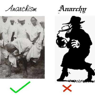 Gandhian anarchism vs bombthrowing anarchy, original image composed from two public domain images of uncertain authorship, via Wikimedia Commons.  Released into public domain by me, Gray Woodland, as author - attribution requested.