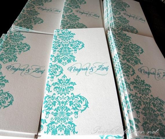Pearl White + Light Blue Damask Wedding Card, one fold card, malay wedding card, pearl white, light blue damask, wedding card, kad kahwin, cetak, damask, personalised, personalized, modern, simple, unique, special, handmade, corak, kuala lumpur, malaysia, singapore, selangor, penang, pulau pinang, ipoh, perak, taiping, seremban, melaka, johor bahru, kuantan, bentong, pahang, online, order, hand crafted, handmade, envelope, decoration, floral, flower, purchase, buy, fast, shipping, express