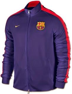 gambar jaket barcelona warna biru navy liat oranye merah, musim 2014/1015, grade ori