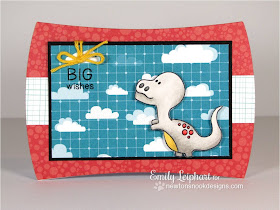 Big Wishes Dinosaur card by Emily Leiphart for Inky Paws Challenge #02