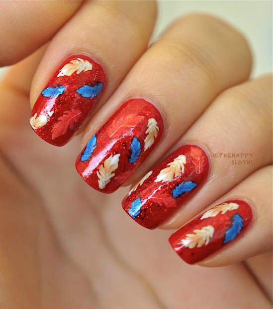 feathery fall nails manicure featuring