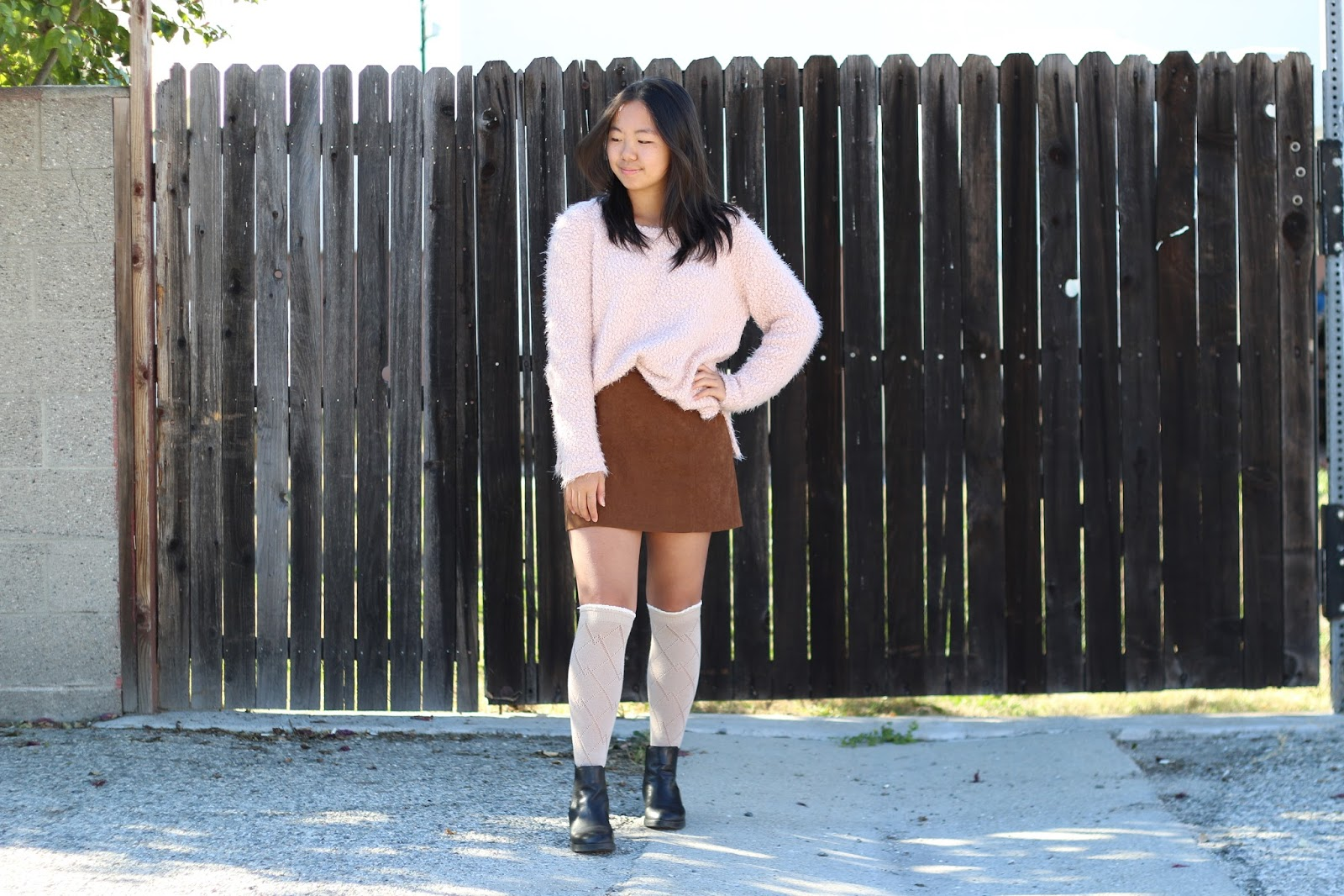 outfit of the day, outfit, personal style, sweater, suede skirt