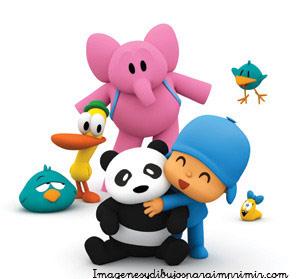 pocoyo abrazando al oso panda Pocoyo y amigos para imprimir