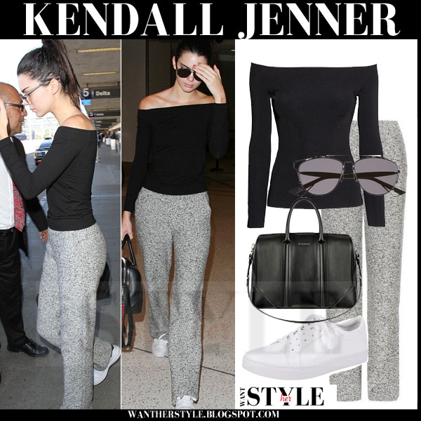 Kendall Jenner in black off the shoulder H&M top, grey chloe trousers and white kenneth cole sneakers what she wore models off duty
