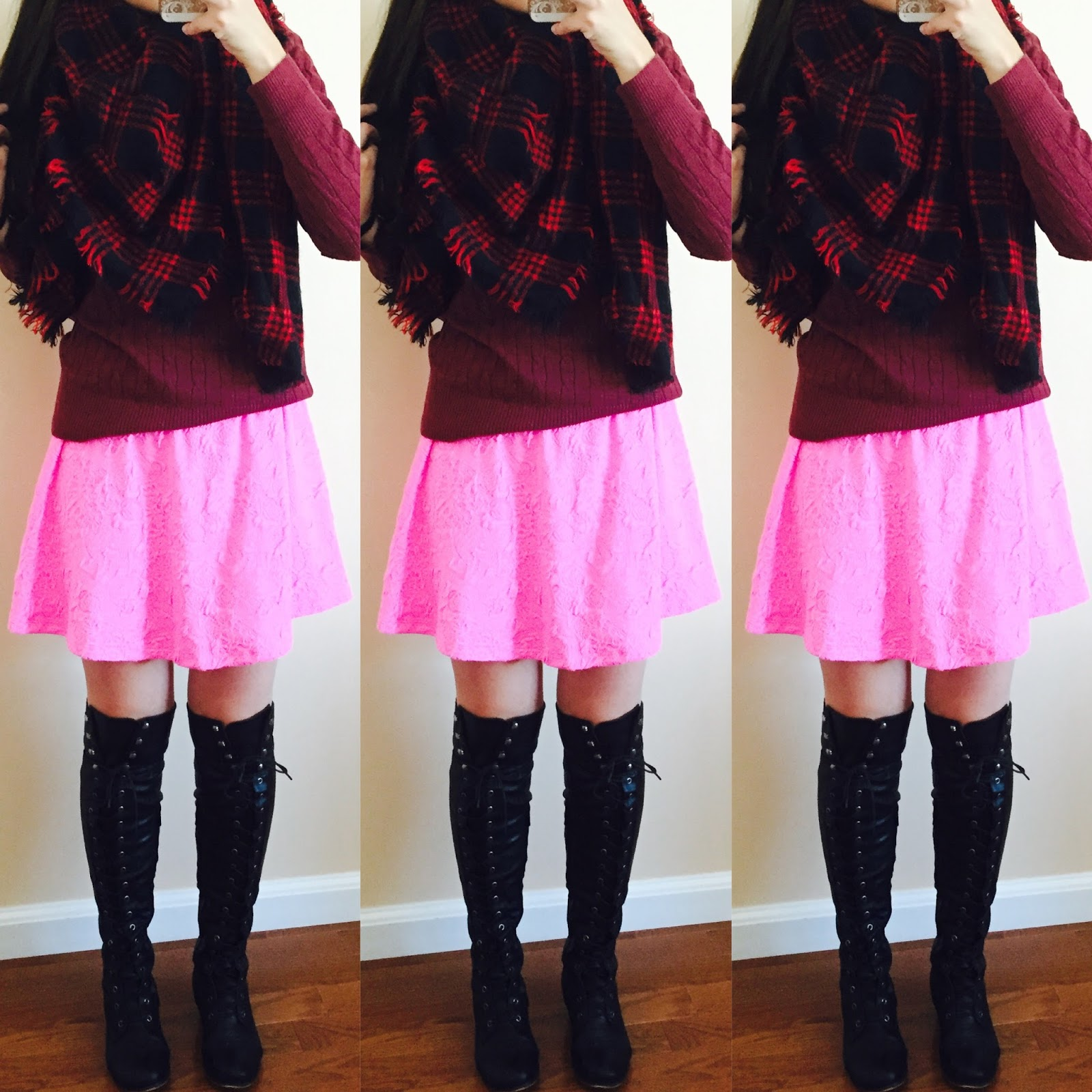 blanket scarf, 20 ways to style a pink dress, pink blush, pink dress with a sweater over it, knit sweater, brown over the knee boots, amiclubwear, fall outfit, how to style a dress for fall with boots,  two toned over the knee boots, pink knit sweater over a pink dress, how to style a knit sweater, fall to winter outfit, winter outfit, ankle booties, pinkblush draped cardigan, striped cardigan, ankle booties, grey cardigan, beige over the knee boots, white scarf, how to make a summer dress into a fall outfit, aztec cardigan, pastel colors for fall,